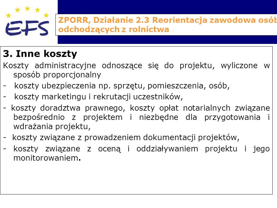 ZPORR, Działanie 2.3 Reorientacja zawodowa osób odchodzących z rolnictwa 3.