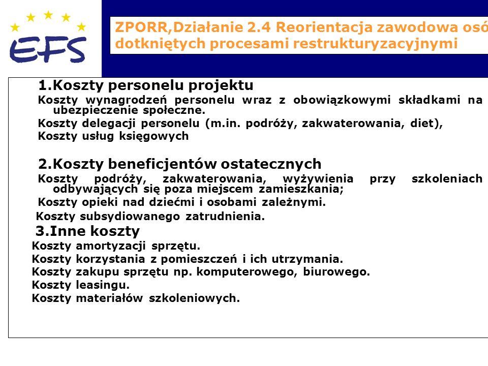 ZPORR,Działanie 2.4 Reorientacja zawodowa osób dotkniętych procesami restrukturyzacyjnymi 1.Koszty personelu projektu Koszty wynagrodzeń personelu wraz z obowiązkowymi składkami na ubezpieczenie społeczne.