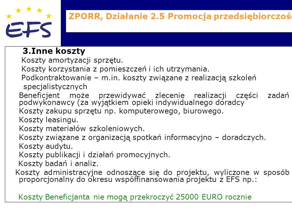 ZPORR, Działanie 2.5 Promocja przedsiębiorczości 3.Inne koszty Koszty amortyzacji sprzętu.