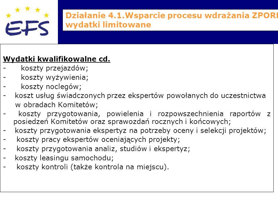 Działanie 4.1.Wsparcie procesu wdrażania ZPORR – wydatki limitowane Wydatki kwalifikowalne cd.