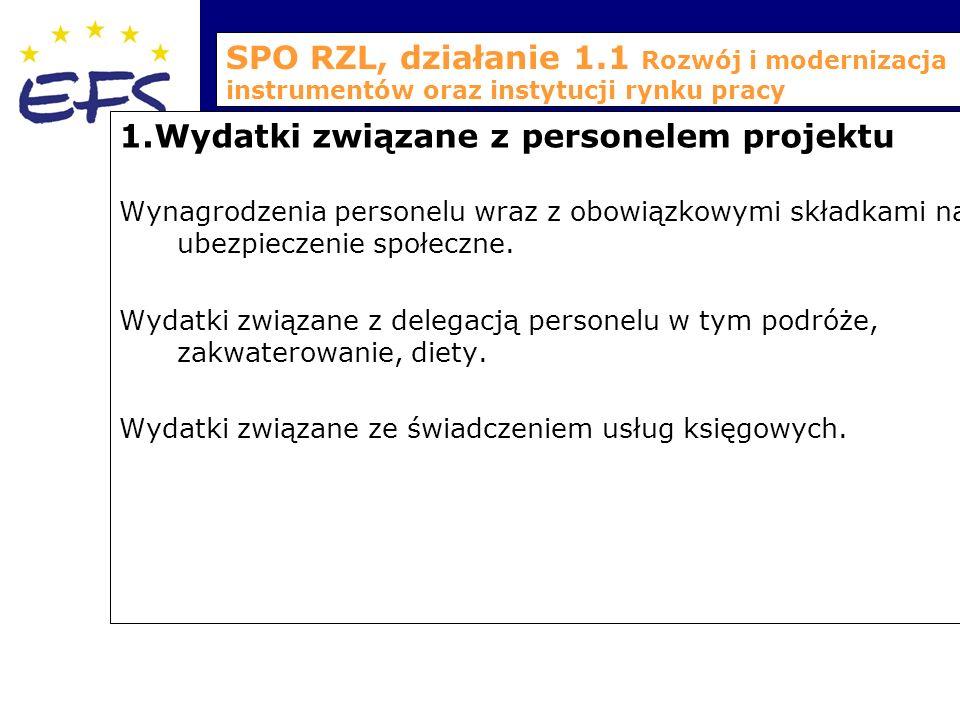 SPO RZL, działanie 1.1 Rozwój i modernizacja instrumentów oraz instytucji rynku pracy 1.Wydatki związane z personelem projektu Wynagrodzenia personelu wraz z obowiązkowymi składkami na ubezpieczenie społeczne.