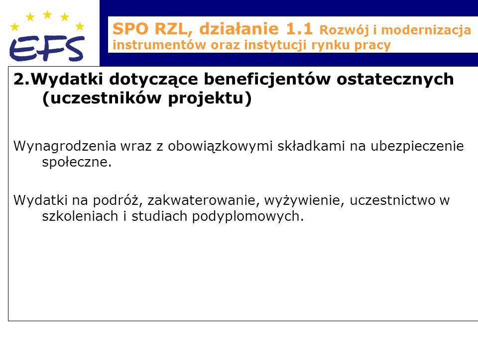 SPO RZL, działanie 1.1 Rozwój i modernizacja instrumentów oraz instytucji rynku pracy 2.Wydatki dotyczące beneficjentów ostatecznych (uczestników projektu) Wynagrodzenia wraz z obowiązkowymi składkami na ubezpieczenie społeczne.