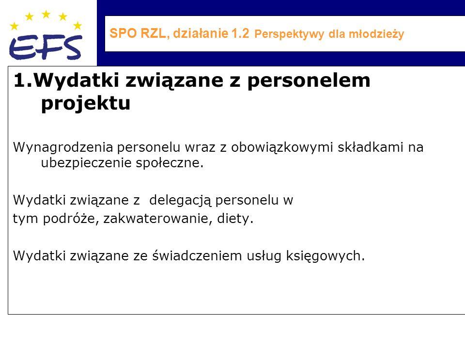 SPO RZL, działanie 1.2 Perspektywy dla młodzieży 1.Wydatki związane z personelem projektu Wynagrodzenia personelu wraz z obowiązkowymi składkami na ubezpieczenie społeczne.