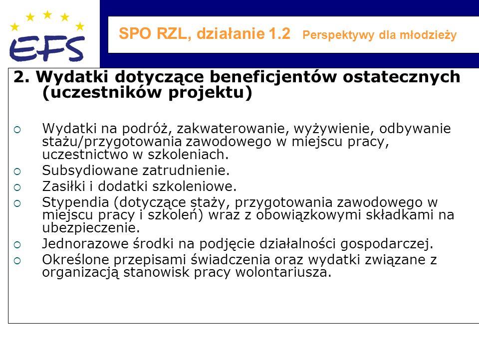 SPO RZL, działanie 1.2 Perspektywy dla młodzieży 2.