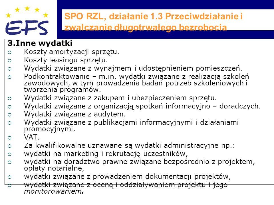 SPO RZL, działanie 1.3 Przeciwdziałanie i zwalczanie długotrwałego bezrobocia 3.Inne wydatki  Koszty amortyzacji sprzętu.