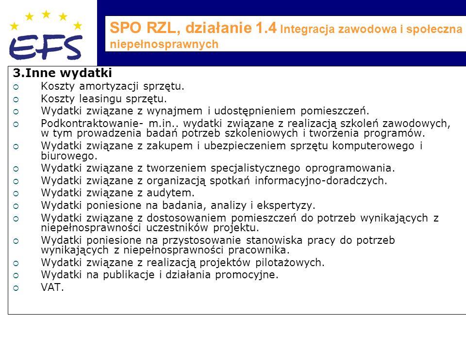 SPO RZL, działanie 1.4 Integracja zawodowa i społeczna osób niepełnosprawnych 3.Inne wydatki  Koszty amortyzacji sprzętu.