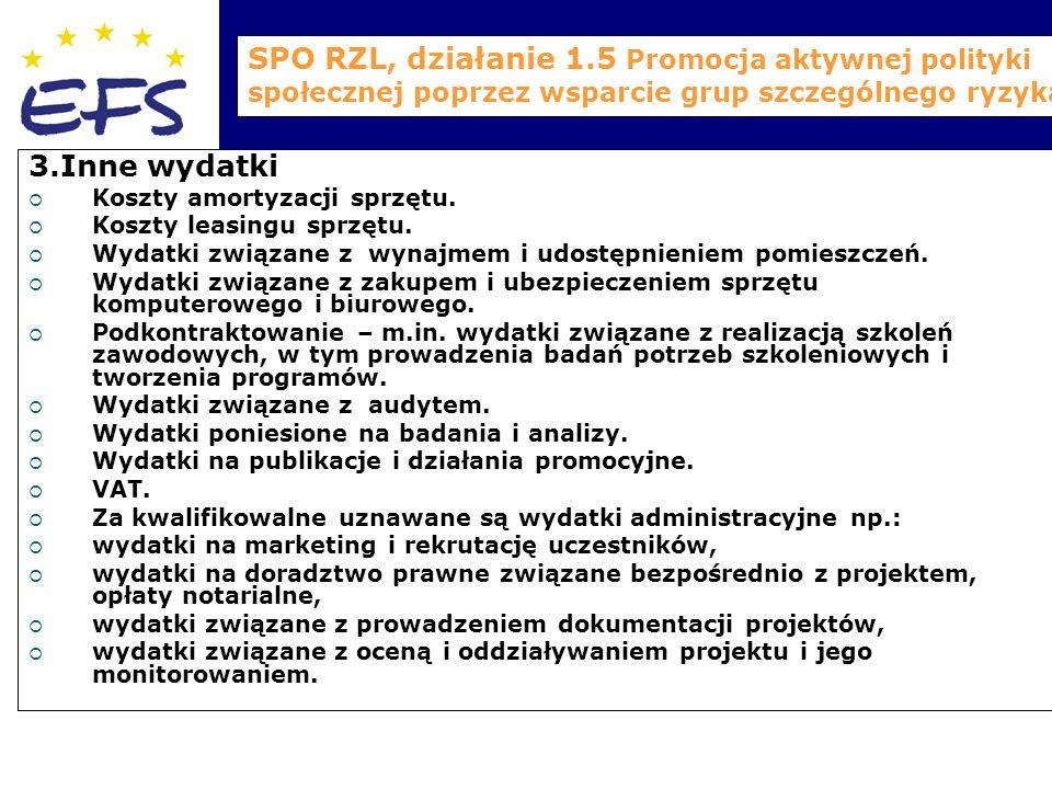 SPO RZL, działanie 1.5 Promocja aktywnej polityki społecznej poprzez wsparcie grup szczególnego ryzyka 3.Inne wydatki  Koszty amortyzacji sprzętu.