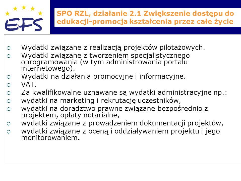 SPO RZL, działanie 2.1 Zwiększenie dostępu do edukacji-promocja kształcenia przez całe życie  Wydatki związane z realizacją projektów pilotażowych.