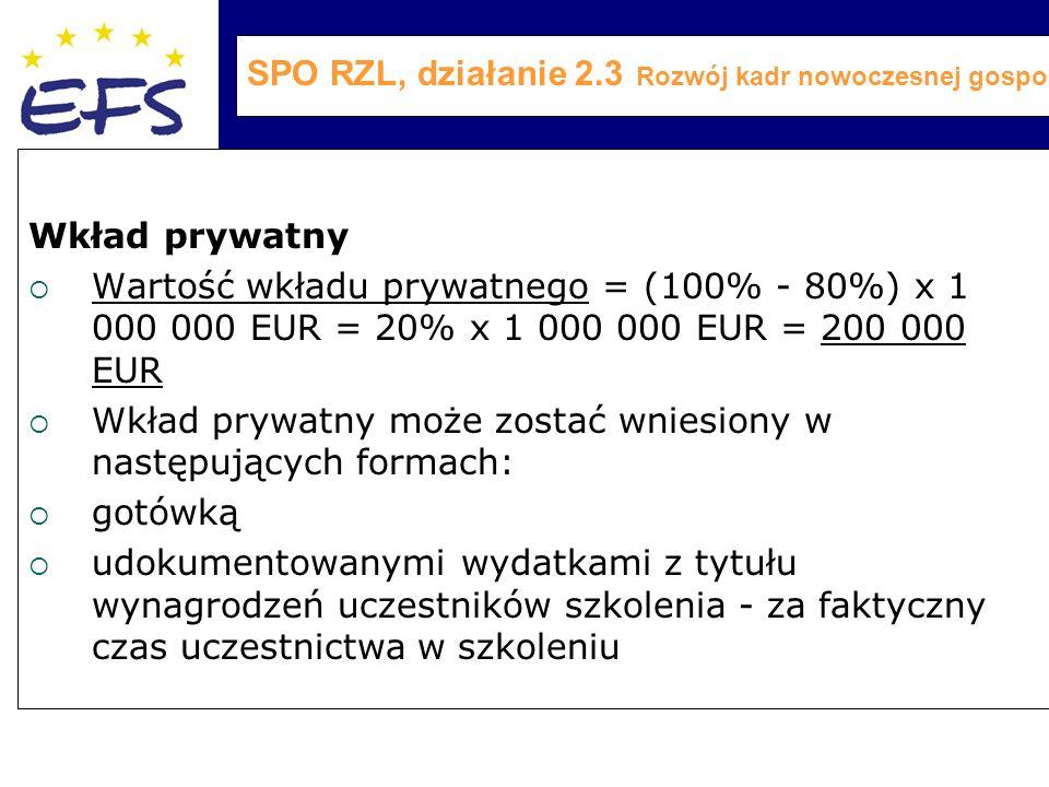 SPO RZL, działanie 2.3 Rozwój kadr nowoczesnej gospodarki Wkład prywatny  Wartość wkładu prywatnego = (100% - 80%) x 1 000 000 EUR = 20% x 1 000 000 EUR = 200 000 EUR  Wkład prywatny może zostać wniesiony w następujących formach:  gotówką  udokumentowanymi wydatkami z tytułu wynagrodzeń uczestników szkolenia - za faktyczny czas uczestnictwa w szkoleniu