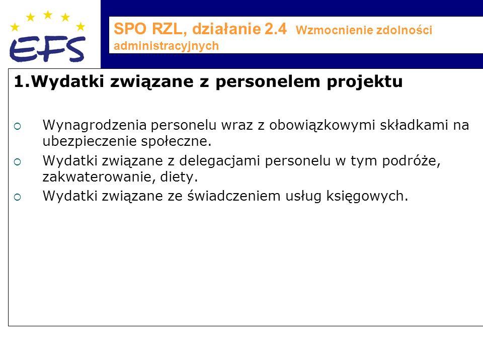 SPO RZL, działanie 2.4 Wzmocnienie zdolności administracyjnych 1.Wydatki związane z personelem projektu  Wynagrodzenia personelu wraz z obowiązkowymi składkami na ubezpieczenie społeczne.