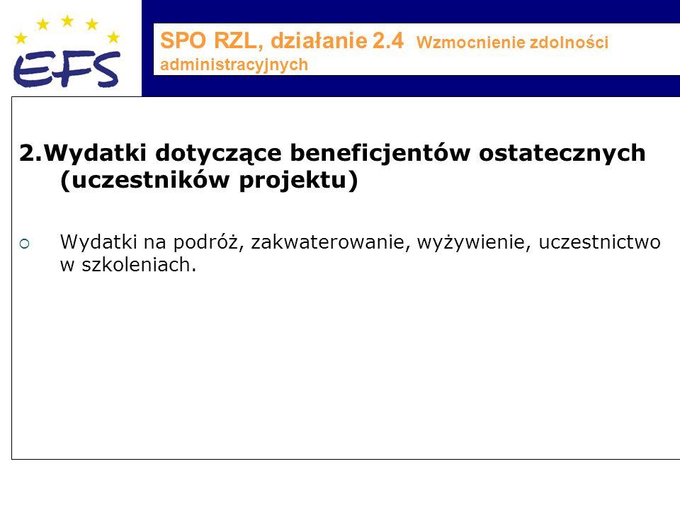 SPO RZL, działanie 2.4 Wzmocnienie zdolności administracyjnych 2.Wydatki dotyczące beneficjentów ostatecznych (uczestników projektu)  Wydatki na podróż, zakwaterowanie, wyżywienie, uczestnictwo w szkoleniach.