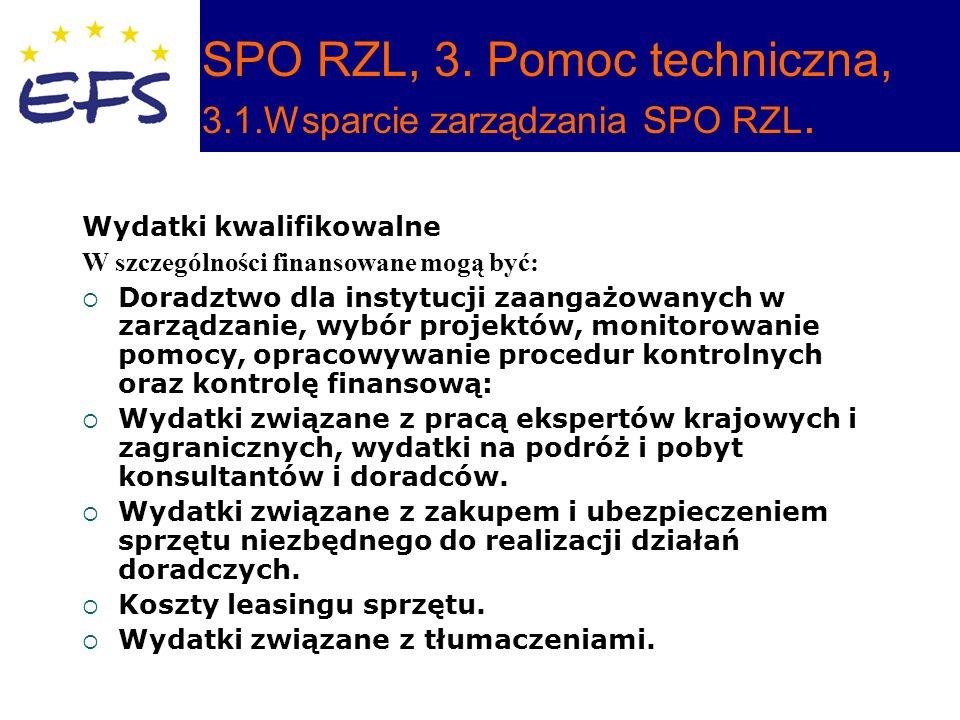 SPO RZL, 3. Pomoc techniczna, 3.1.Wsparcie zarządzania SPO RZL.