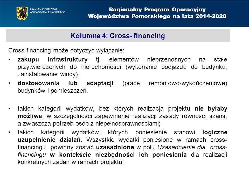 Kolumna 4: Cross- financing Cross-financing może dotyczyć wyłącznie: zakupu infrastruktury tj.