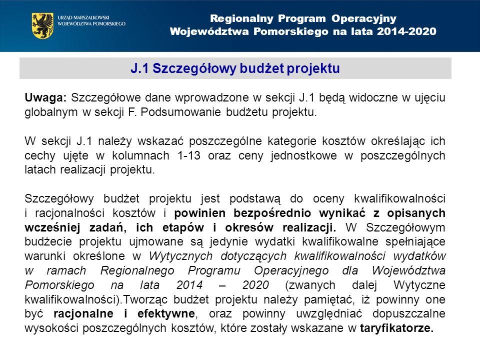 J.1 Szczegółowy budżet projektu Regionalny Program Operacyjny Województwa Pomorskiego na lata 2014-2020 Uwaga: Szczegółowe dane wprowadzone w sekcji J.1 będą widoczne w ujęciu globalnym w sekcji F.