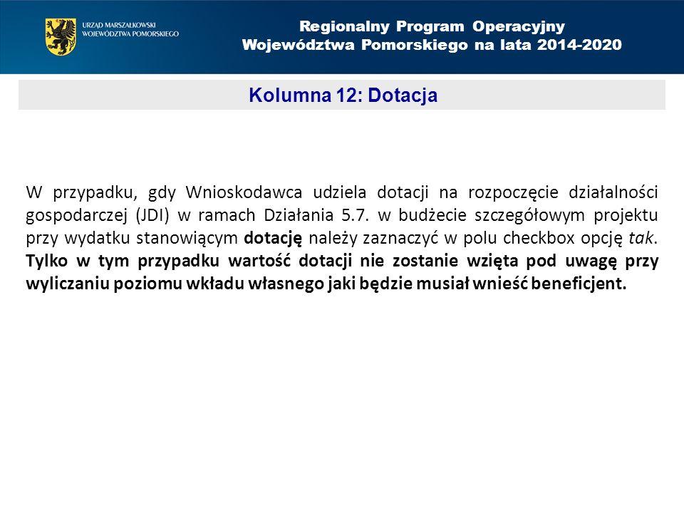 W przypadku, gdy Wnioskodawca udziela dotacji na rozpoczęcie działalności gospodarczej (JDI) w ramach Działania 5.7.