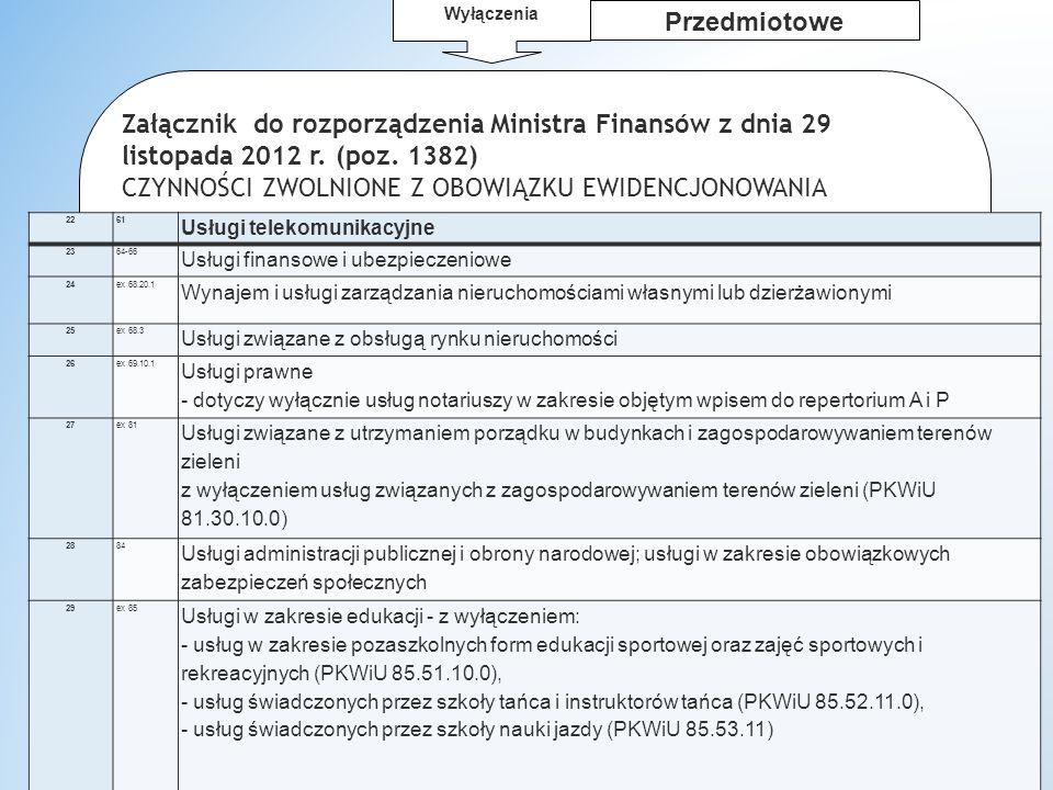 dr W.Wyrzykowski 1 Przedmiotowe Załącznik do rozporządzenia Ministra Finansów z dnia 29 listopada 2012 r.