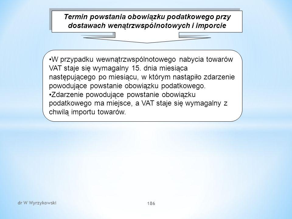 dr W Wyrzykowski 186 Termin powstania obowiązku podatkowego przy dostawach wenątrzwspólnotowych i imporcie W przypadku wewnątrzwspólnotowego nabycia towarów VAT staje się wymagalny 15.