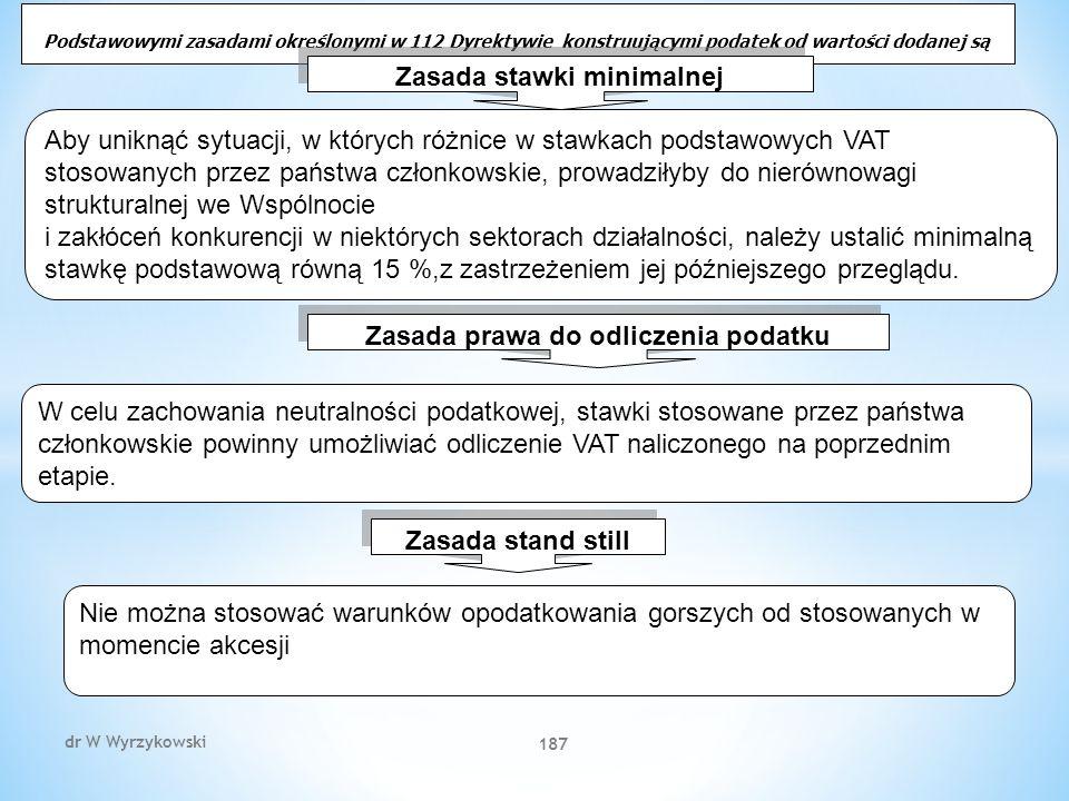 dr W Wyrzykowski 187 Podstawowymi zasadami określonymi w 112 Dyrektywie konstruującymi podatek od wartości dodanej są Zasada stawki minimalnej Aby uniknąć sytuacji, w których różnice w stawkach podstawowych VAT stosowanych przez państwa członkowskie, prowadziłyby do nierównowagi strukturalnej we Wspólnocie i zakłóceń konkurencji w niektórych sektorach działalności, należy ustalić minimalną stawkę podstawową równą 15 %,z zastrzeżeniem jej późniejszego przeglądu.