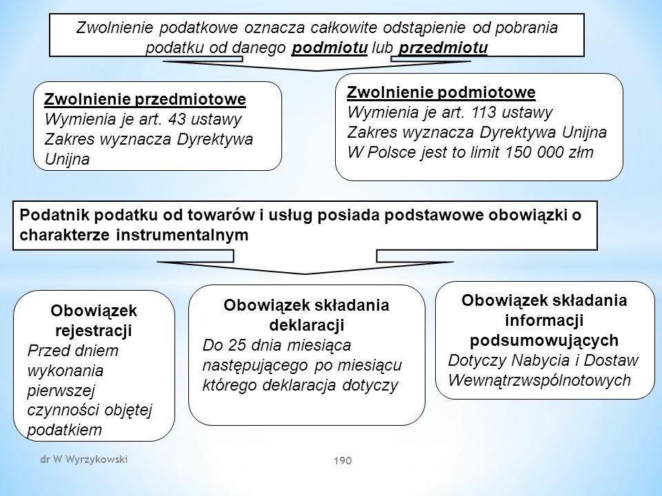dr W Wyrzykowski 190 Zwolnienie podatkowe oznacza całkowite odstąpienie od pobrania podatku od danego podmiotu lub przedmiotu Zwolnienie przedmiotowe Wymienia je art.