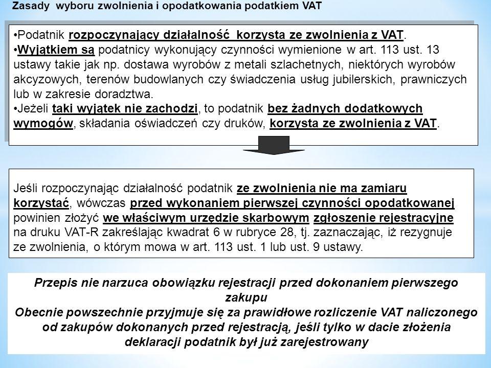 dr W Wyrzykowski 194 Podatnik rozpoczynający działalność korzysta ze zwolnienia z VAT.