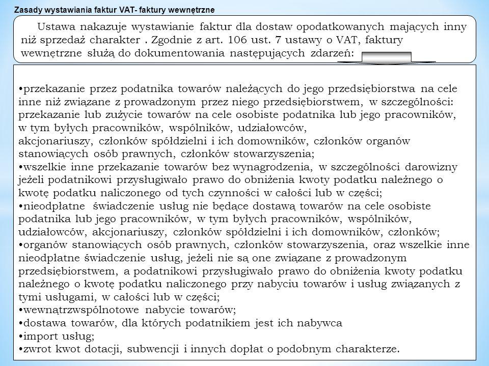 dr W Wyrzykowski 210 Ustawa nakazuje wystawianie faktur dla dostaw opodatkowanych mających inny niż sprzedaż charakter.