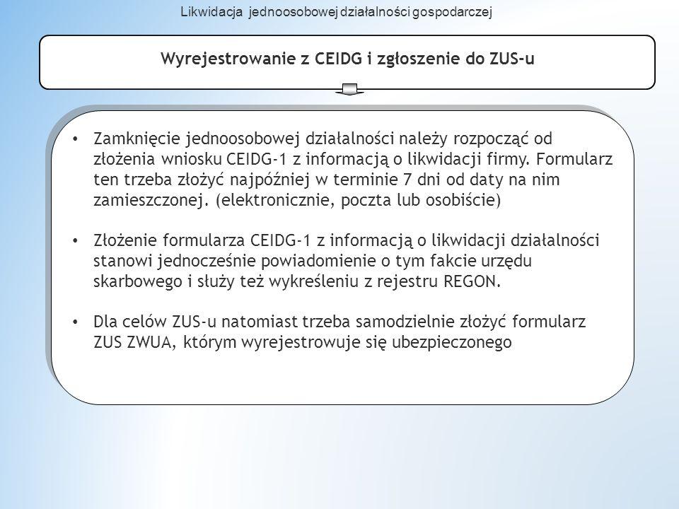 Wyrejestrowanie z CEIDG i zgłoszenie do ZUS-u Zamknięcie jednoosobowej działalności należy rozpocząć od złożenia wniosku CEIDG-1 z informacją o likwidacji firmy.