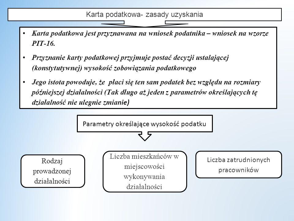 Karta podatkowa- zasady uzyskania Karta podatkowa jest przyznawana na wniosek podatnika – wniosek na wzorze PIT-16.