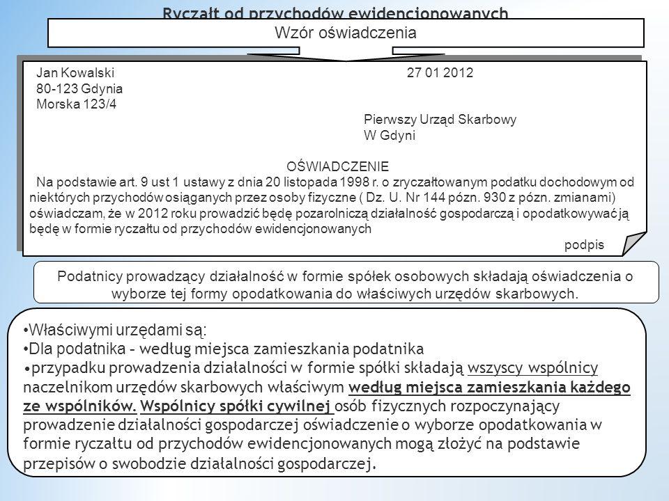 Ryczałt od przychodów ewidencjonowanych Jan Kowalski 27 01 2012 80-123 Gdynia Morska 123/4 Pierwszy Urząd Skarbowy W Gdyni OŚWIADCZENIE Na podstawie art.