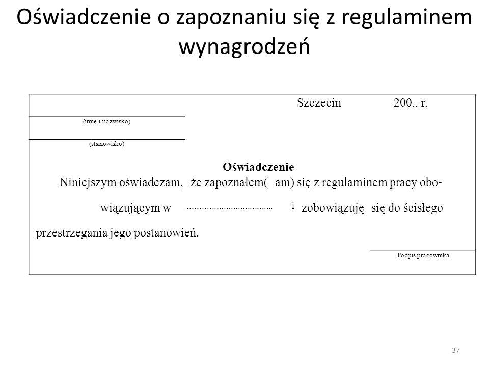 Oświadczenie o zapoznaniu się z regulaminem wynagrodzeń Szczecin200..