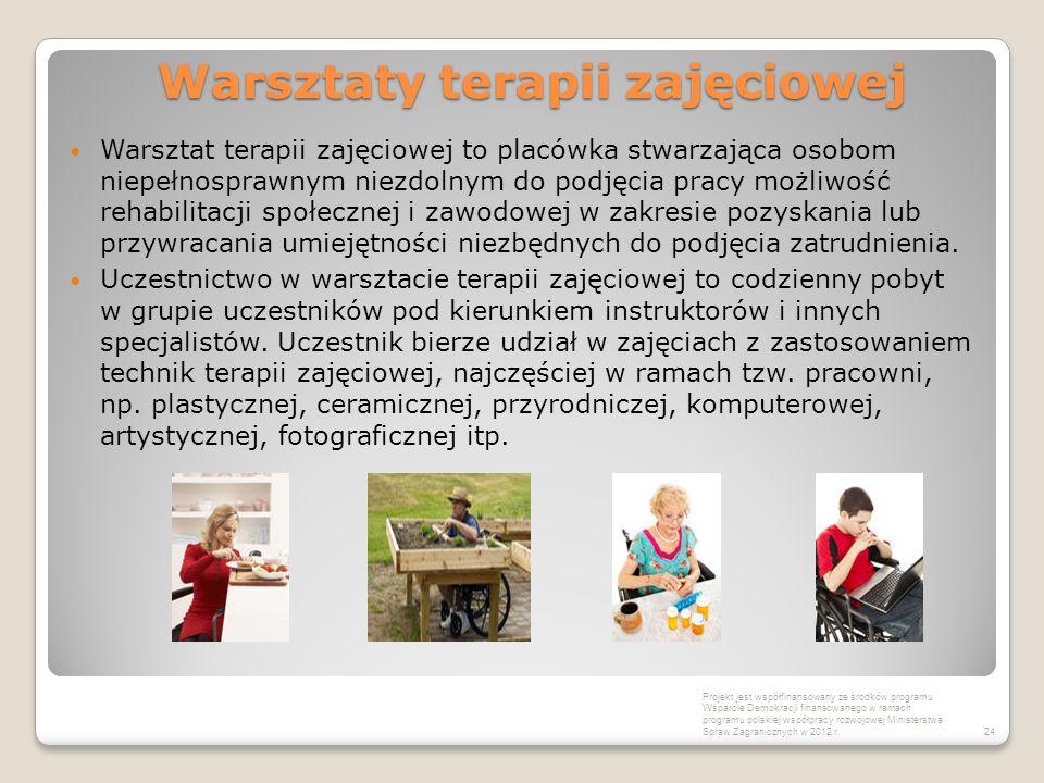 Warsztaty terapii zajęciowej Warsztat terapii zajęciowej to placówka stwarzająca osobom niepełnosprawnym niezdolnym do podjęcia pracy możliwość rehabi