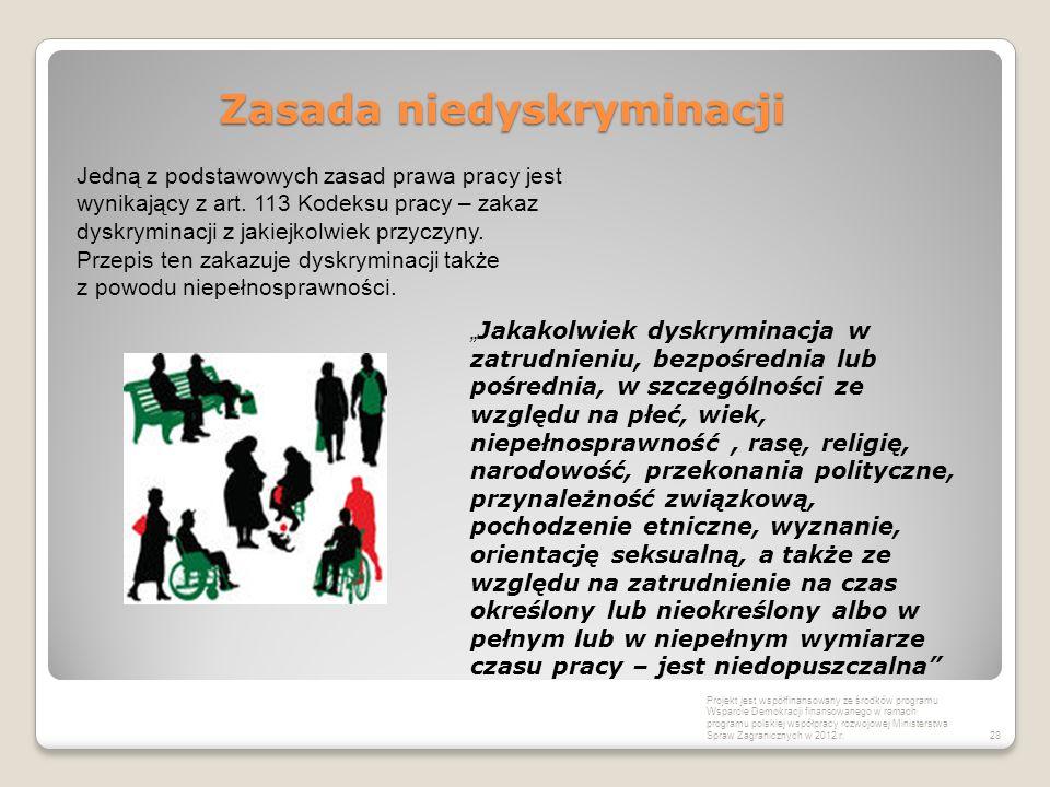 Zasada niedyskryminacji Projekt jest współfinansowany ze środków programu Wsparcie Demokracji finansowanego w ramach programu polskiej współpracy rozw