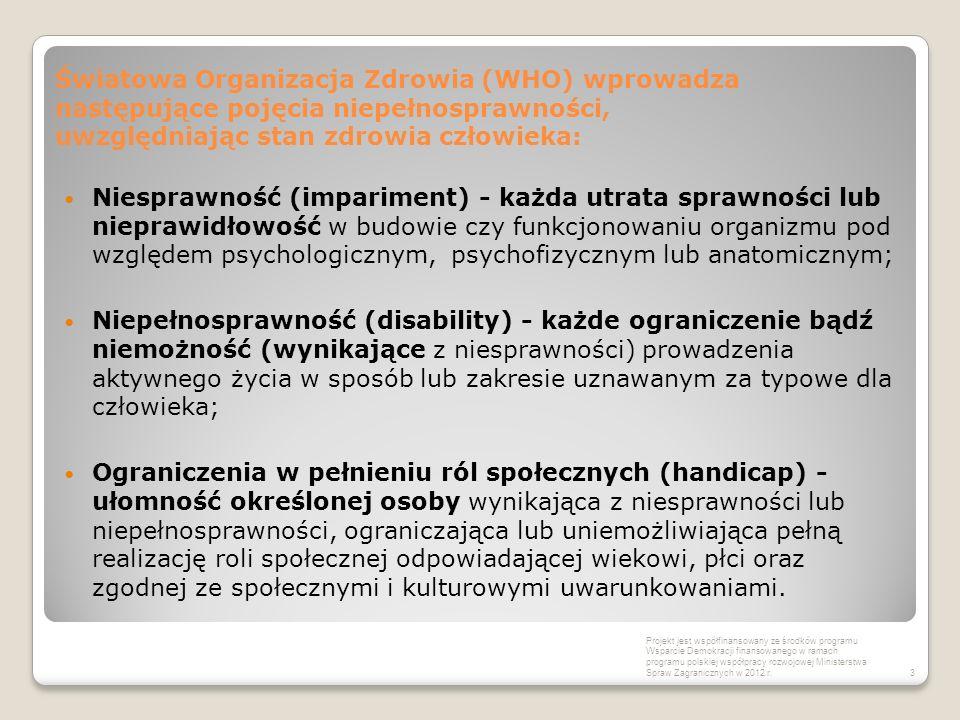 Światowa Organizacja Zdrowia (WHO) wprowadza następujące pojęcia niepełnosprawności, uwzględniając stan zdrowia człowieka: Niesprawność (impariment) -