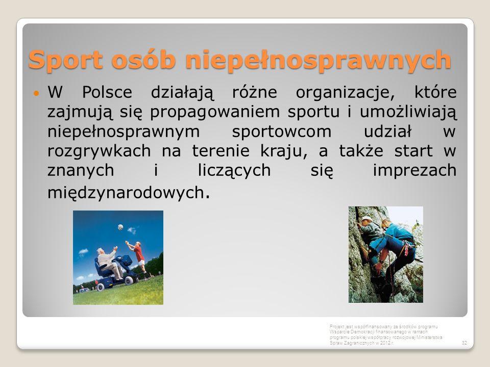 Sport osób niepełnosprawnych W Polsce działają różne organizacje, które zajmują się propagowaniem sportu i umożliwiają niepełnosprawnym sportowcom udz