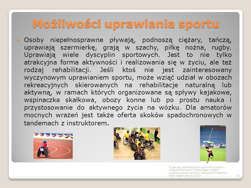 Możliwości uprawiania sportu Osoby niepełnosprawne pływają, podnoszą ciężary, tańczą, uprawiają szermierkę, grają w szachy, piłkę nożna, rugby. Uprawi