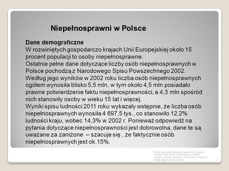 7 Niepełnosprawni w Polsce Projekt jest współfinansowany ze środków programu Wsparcie Demokracji finansowanego w ramach programu polskiej współpracy r