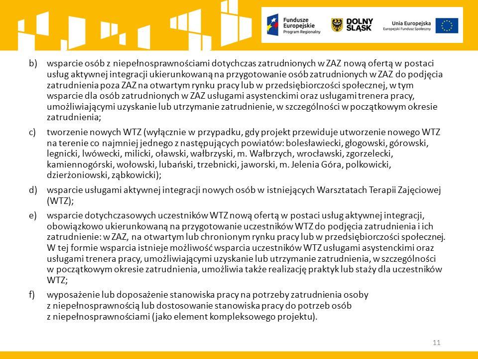 b)wsparcie osób z niepełnosprawnościami dotychczas zatrudnionych w ZAZ nową ofertą w postaci usług aktywnej integracji ukierunkowaną na przygotowanie
