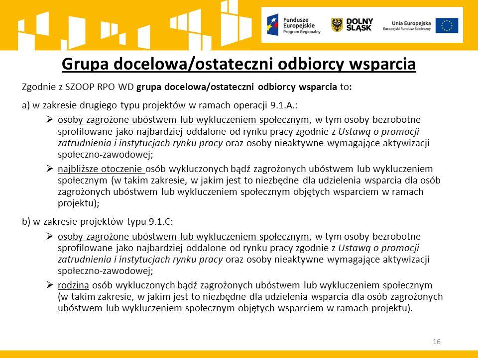 Zgodnie z SZOOP RPO WD grupa docelowa/ostateczni odbiorcy wsparcia to: a) w zakresie drugiego typu projektów w ramach operacji 9.1.A.:  osoby zagrożo