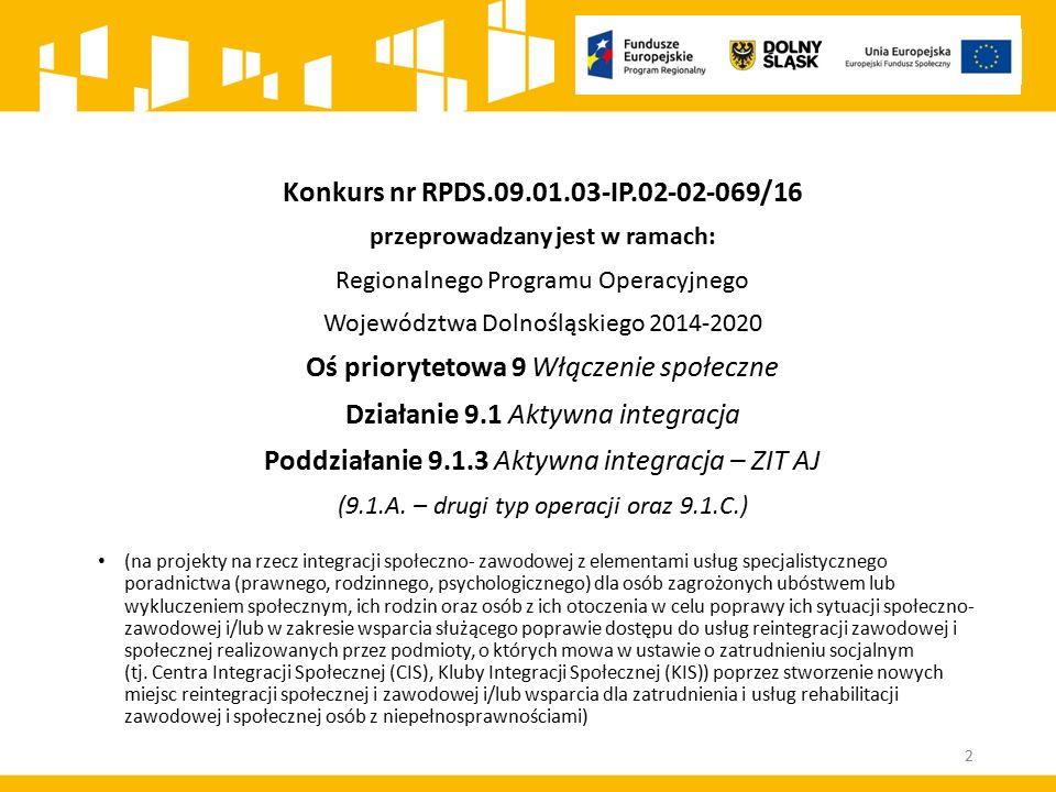 Konkurs nr RPDS.09.01.03-IP.02-02-069/16 przeprowadzany jest w ramach: Regionalnego Programu Operacyjnego Województwa Dolnośląskiego 2014-2020 Oś prio