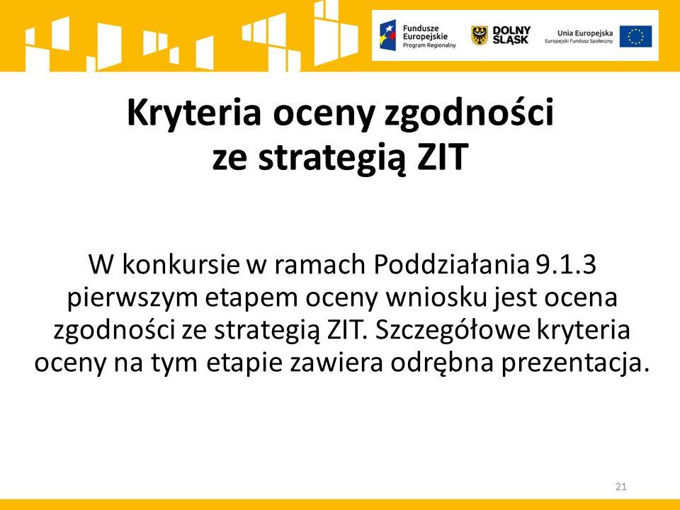 W konkursie w ramach Poddziałania 9.1.3 pierwszym etapem oceny wniosku jest ocena zgodności ze strategią ZIT. Szczegółowe kryteria oceny na tym etapie
