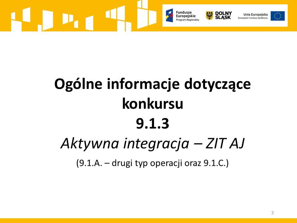 Ogólne informacje dotyczące konkursu 9.1.3 Aktywna integracja – ZIT AJ (9.1.A. – drugi typ operacji oraz 9.1.C.) 3