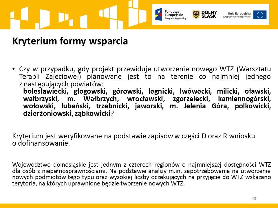 Kryterium formy wsparcia Czy w przypadku, gdy projekt przewiduje utworzenie nowego WTZ (Warsztatu Terapii Zajęciowej) planowane jest to na terenie co najmniej jednego z następujących powiatów: bolesławiecki, głogowski, górowski, legnicki, lwówecki, milicki, oławski, wałbrzyski, m.