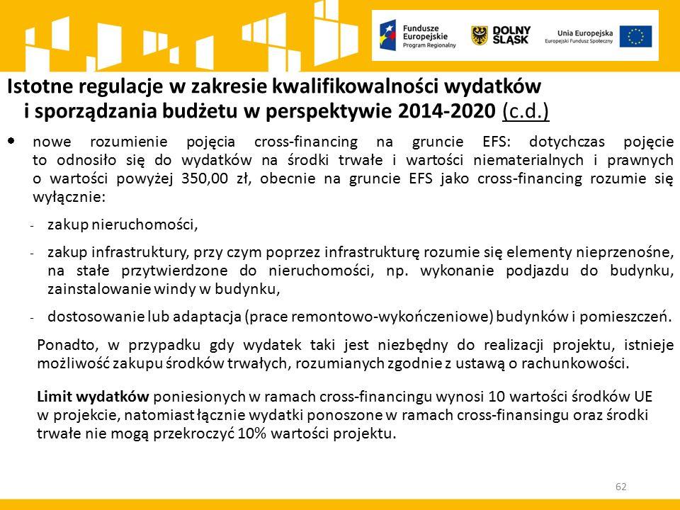 Istotne regulacje w zakresie kwalifikowalności wydatków i sporządzania budżetu w perspektywie 2014-2020 (c.d.)  nowe rozumienie pojęcia cross-financi