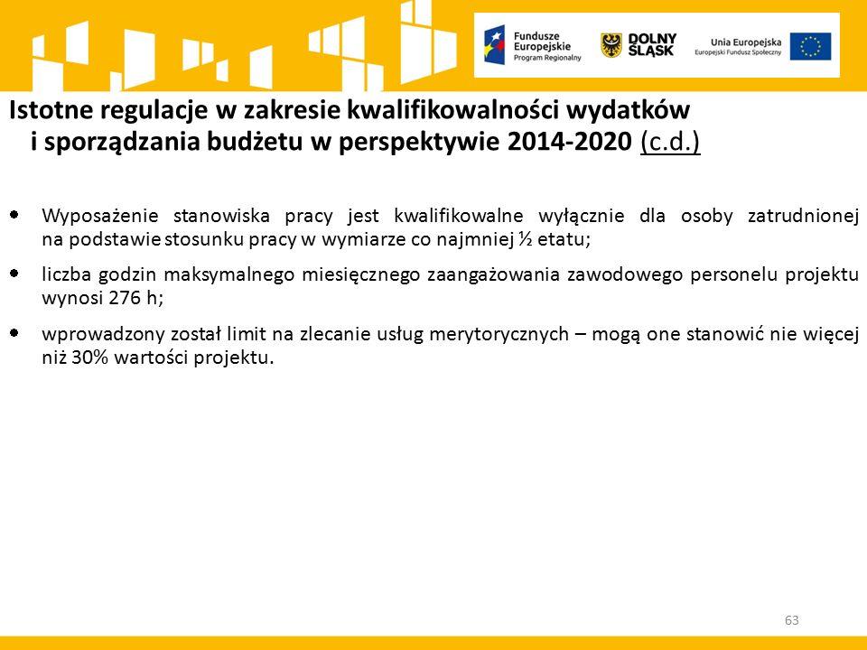 Istotne regulacje w zakresie kwalifikowalności wydatków i sporządzania budżetu w perspektywie 2014-2020 (c.d.)  Wyposażenie stanowiska pracy jest kwa