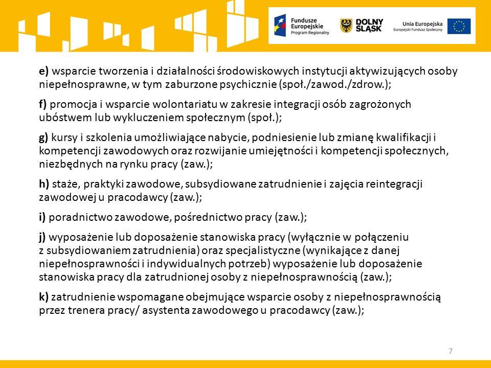 e) wsparcie tworzenia i działalności środowiskowych instytucji aktywizujących osoby niepełnosprawne, w tym zaburzone psychicznie (społ./zawod./zdrow.); f) promocja i wsparcie wolontariatu w zakresie integracji osób zagrożonych ubóstwem lub wykluczeniem społecznym (społ.); g) kursy i szkolenia umożliwiające nabycie, podniesienie lub zmianę kwalifikacji i kompetencji zawodowych oraz rozwijanie umiejętności i kompetencji społecznych, niezbędnych na rynku pracy (zaw.); h) staże, praktyki zawodowe, subsydiowane zatrudnienie i zajęcia reintegracji zawodowej u pracodawcy (zaw.); i) poradnictwo zawodowe, pośrednictwo pracy (zaw.); j) wyposażenie lub doposażenie stanowiska pracy (wyłącznie w połączeniu z subsydiowaniem zatrudnienia) oraz specjalistyczne (wynikające z danej niepełnosprawności i indywidualnych potrzeb) wyposażenie lub doposażenie stanowiska pracy dla zatrudnionej osoby z niepełnosprawnością (zaw.); k) zatrudnienie wspomagane obejmujące wsparcie osoby z niepełnosprawnością przez trenera pracy/ asystenta zawodowego u pracodawcy (zaw.); 7