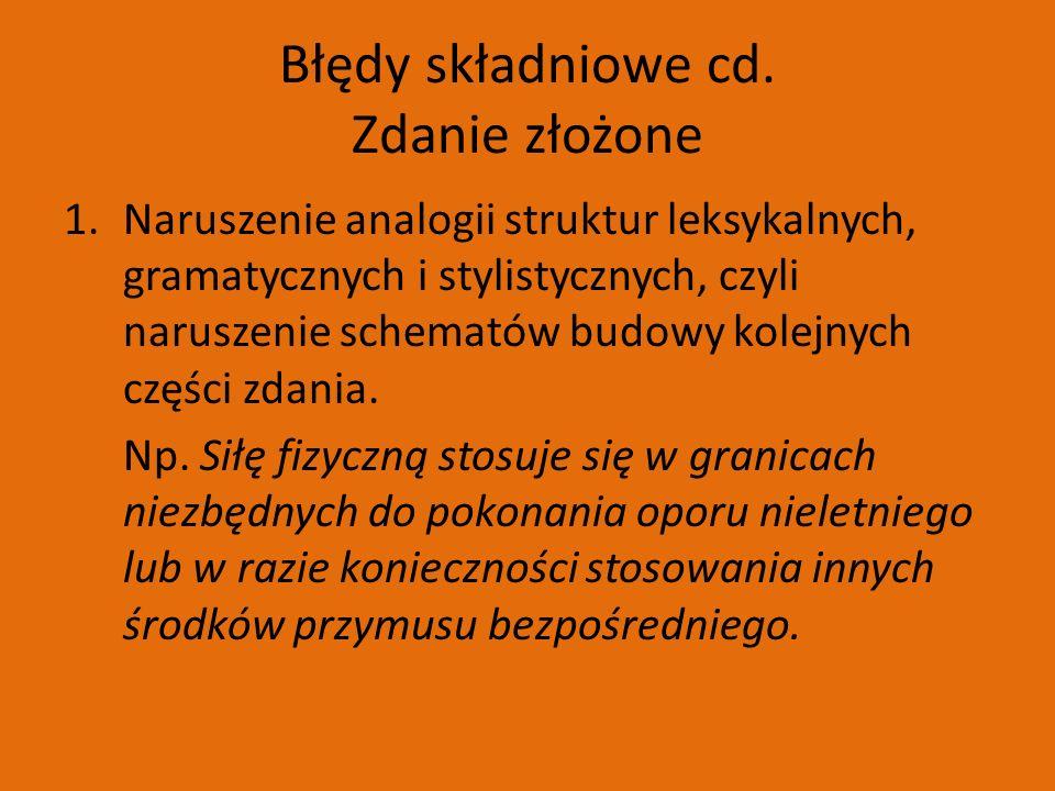 Błędy składniowe cd.