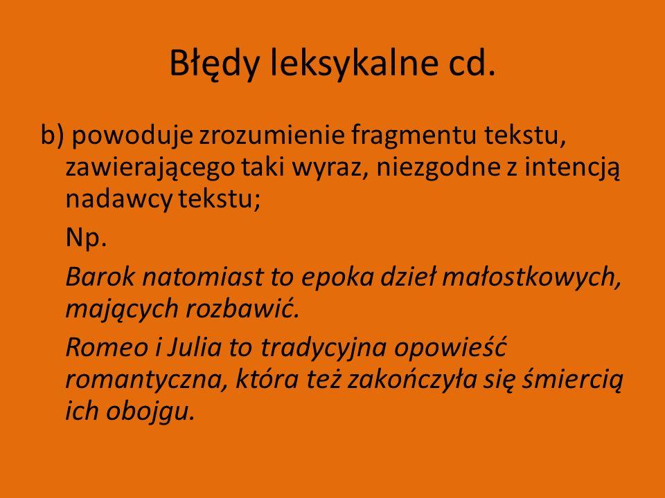 Błędy leksykalne cd.