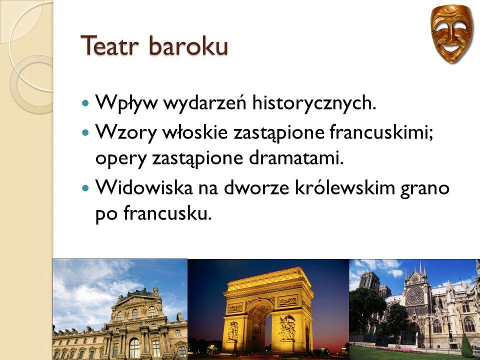Teatr baroku Wpływ wydarzeń historycznych.