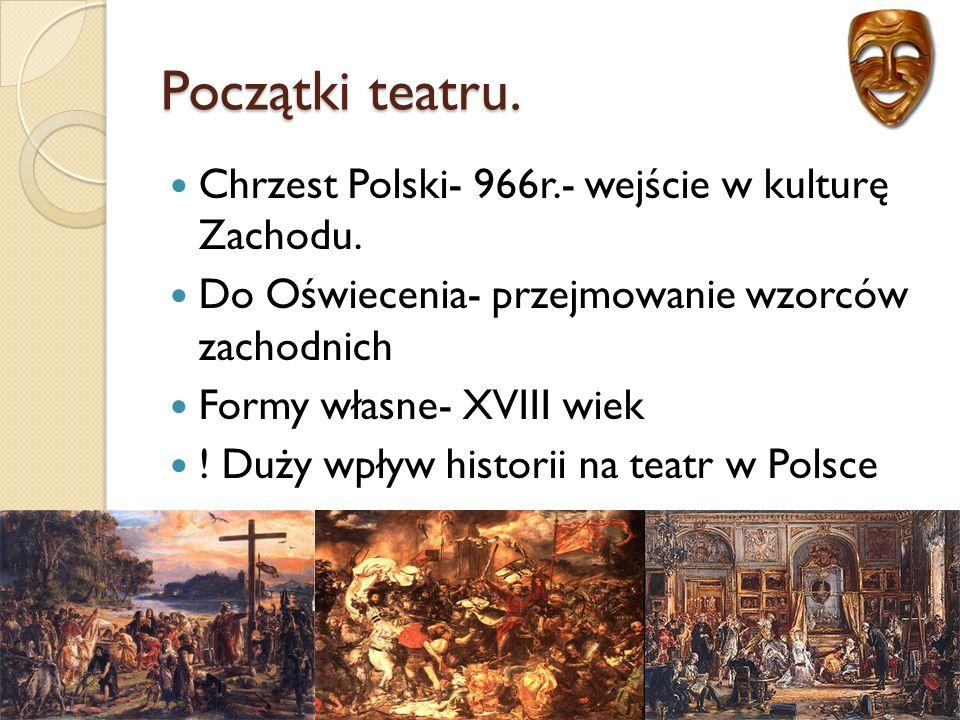 """Powstanie Teatru Narodowego Pierwsza sztuka: komedia """"Natręci Józefa Bielawskiego."""