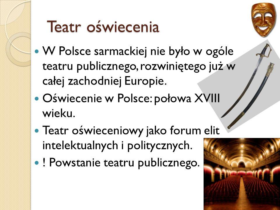 Teatr oświecenia W Polsce sarmackiej nie było w ogóle teatru publicznego, rozwiniętego już w całej zachodniej Europie.