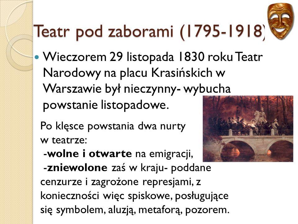 Wieczorem 29 listopada 1830 roku Teatr Narodowy na placu Krasińskich w Warszawie był nieczynny- wybucha powstanie listopadowe.